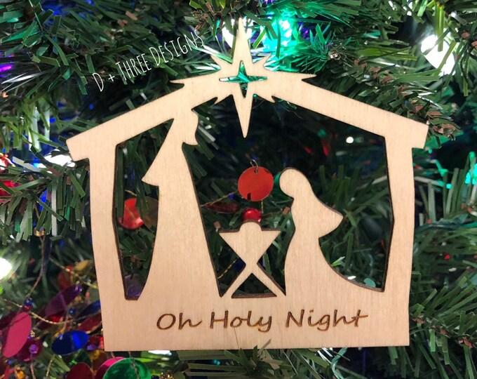 Oh Holy Night Christmas Manger Scene Ornament