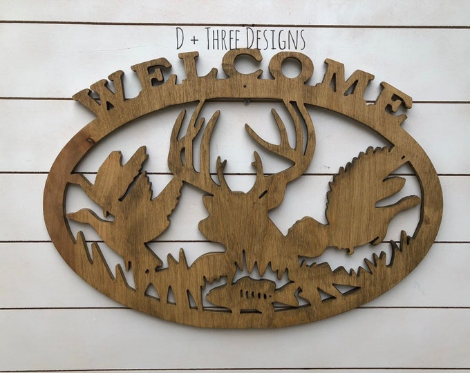 Wooden Wildlife Wall Sign //  Cabin Decor //  Hunting Decor // Outside Wildlife Scene