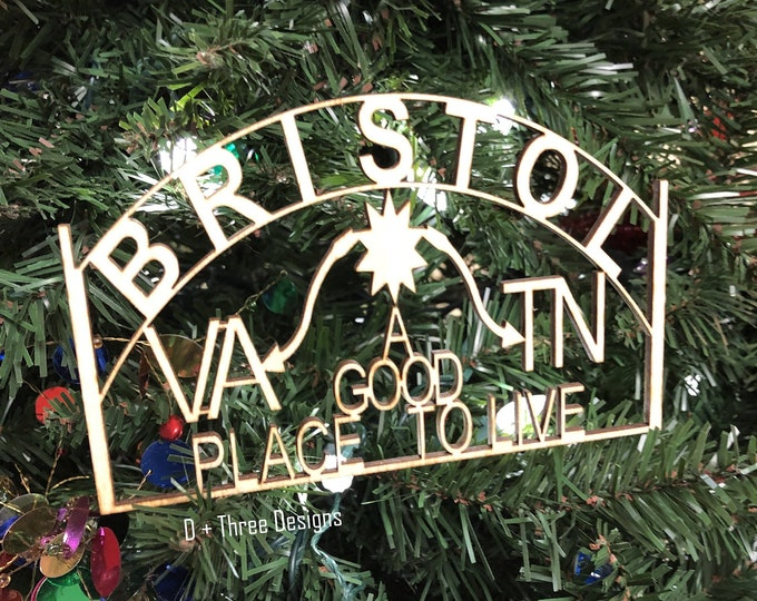 Bristol Tennessee Virginia Wooden Ornament
