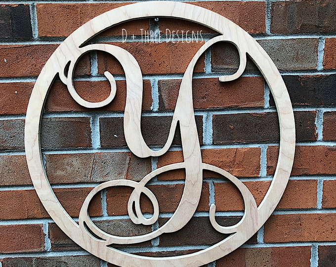 20 Inch Wooden Circle Single Monogram Letter, Wooden Monogram, Letters, Home Decor, Weddings, Nursery Letters, Ready to be painted!