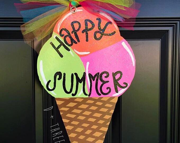 Colorful Icecream Cone Wooden Door Hanger, Summer Wreath, Ice Cream Cone Door Hanger Summer Door Hanger, Wooden Door Hanger,