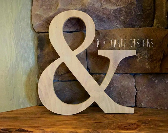 """14"""" Unpainted Wooden Ampersand Photography, Sign, Photo Prop, Engagement Photos, Wedding Photos"""
