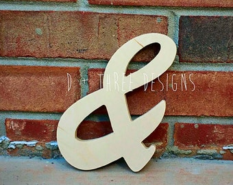"8"" Unpainted Wooden Ampersand Photography, Sign, Photo Prop, Engagement Photos, Wedding Photos"