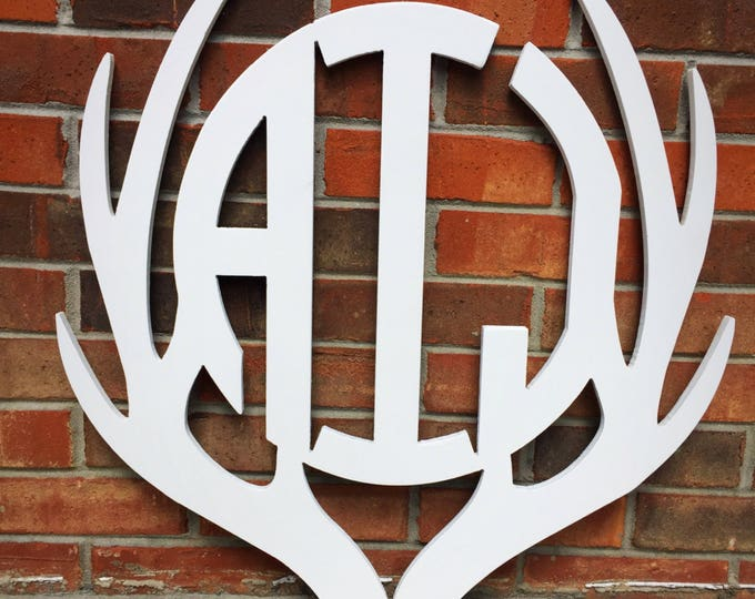 "18"" Painted Antler Monogram, Rustic Monogram, Hunter Decor - You Pick The Stain Color or Paint Color"
