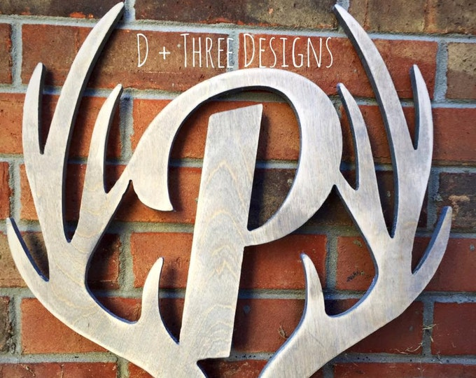 "16"" Distressed Wooden Antler Monogram, Rustic Monogram, Hunter Decor - You Pick The Stain Color or Paint Color"