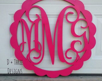 30 Inch Scalloped Wooden Monogram Painted (You Pick The Color), Wooden Letters, Monogram, Home Decor, Nursery Letters, & More