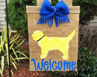 Welcome Dog Burlap Yard Garden Flag // Dog Lover Flag // Golden Doodle Dog Flag // Animal Lover Burlap
