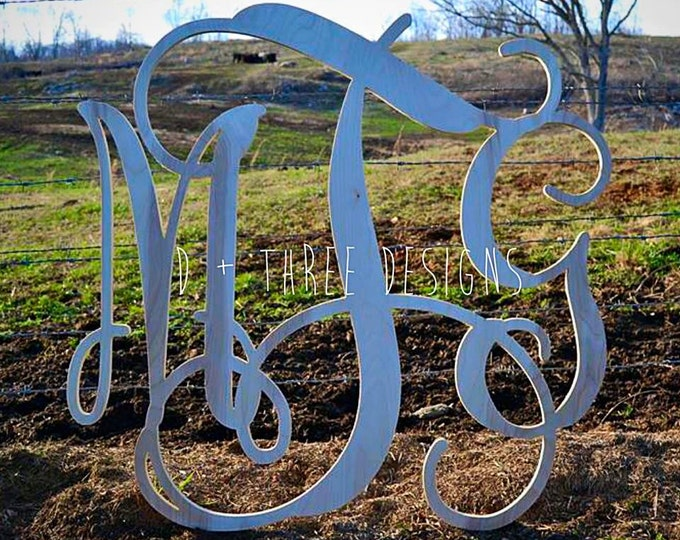 18 Inch Wooden Monogram, Letters, Home Decor, Weddings, Nursery Letters, Ready to be painted!