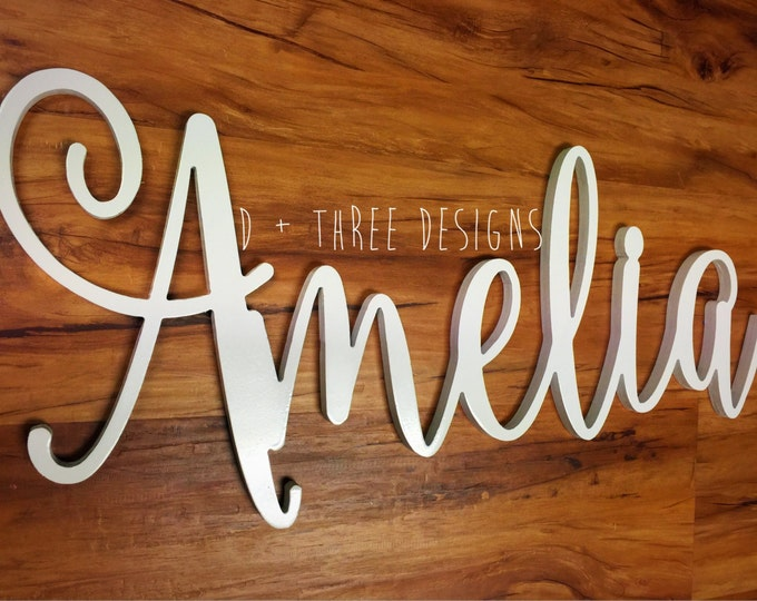 Painted Script Connected Wood Wall Name / Nursery Decor / Wooden Initials / Housewarming Gift / Name Plaque / Wedding Name / Name Decor
