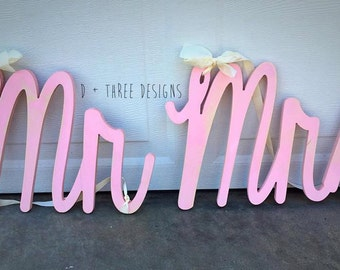 14 Inch Mr and Mrs Painted Wedding Decor, Chair Sign, Wedding Reception, Wooden Letters, Just Married Decor