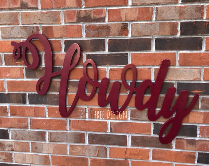 Large Howdy Sign (Choose Stain or Paint Color), Rustic Farmhouse Chic, Wooden Letters, Home Decor, Wooden Phrase, Shelf Sign