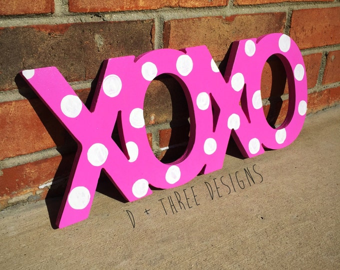 XOXO Polka Dot Sign, Wooden Letters, Home Decor, Room Decor You Pick The Colors