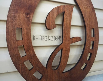 "20"" Distressed Horseshoe Monogram Farmhouse Barn Decor Wooden Decor Stained or Painted (You Pick The Color)"
