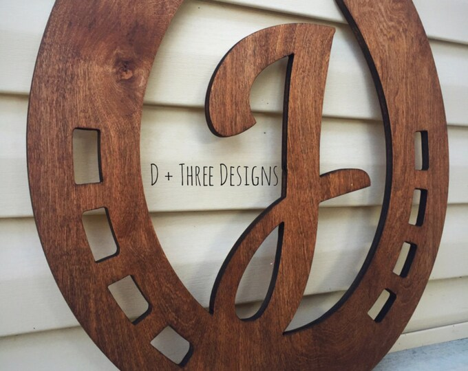 """20"""" Distressed Horseshoe Monogram Farmhouse Barn Decor Wooden Decor Stained or Painted (You Pick The Color)"""