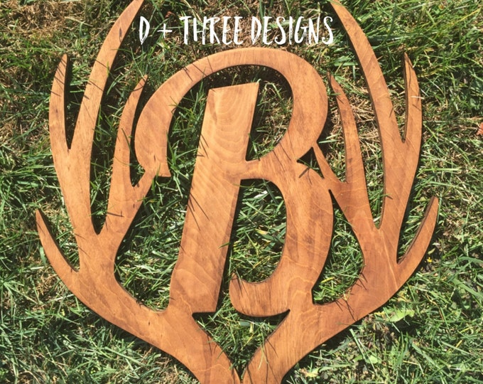 "24"" Distressed Wooden Antler Monogram, Rustic Monogram, Hunter Decor - You Pick The Stain Color or Paint Color"