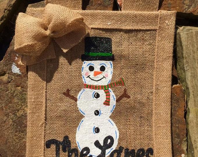 Personalized Winter Snowman Burlap Yard Garden Flag
