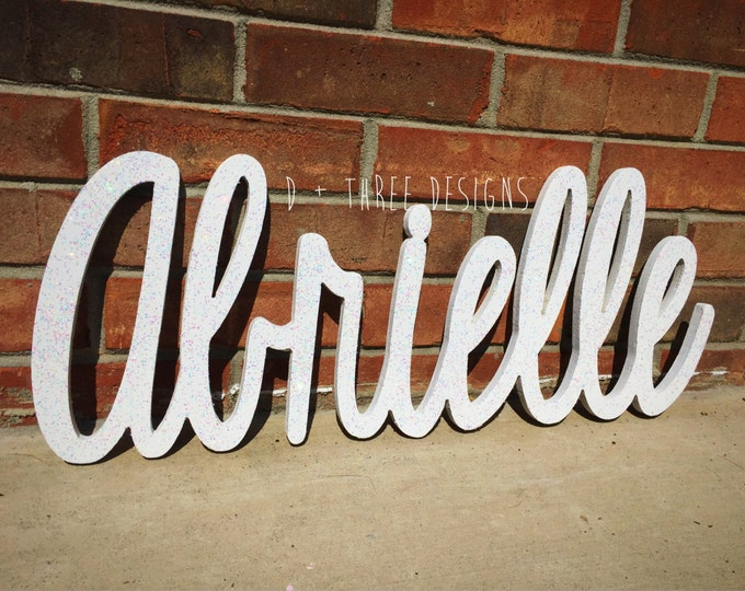 Glitter Painted Script Connected Wood Wall Name / Nursery Decor / Wooden Decor/ Housewarming Gift / Name Plaque / You Pick The Color & Font