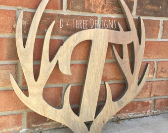 "14"" Distressed Wooden Antler Monogram, Rustic Monogram, Hunter Decor - You Pick The Stain Color or Paint Color"
