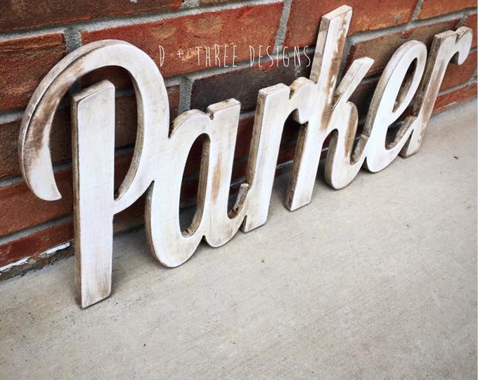 Distressed Rustic Painted Script Wall Name / Nursery Decor / Wooden Initials / Housewarming Gift / Name Plaque  / You Pick The Colors