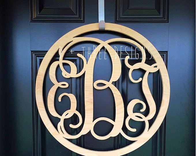 22 Inch Circle Wooden Monogram, Letters, Home Decor, Weddings, Nursery Letters, Ready to be painted!