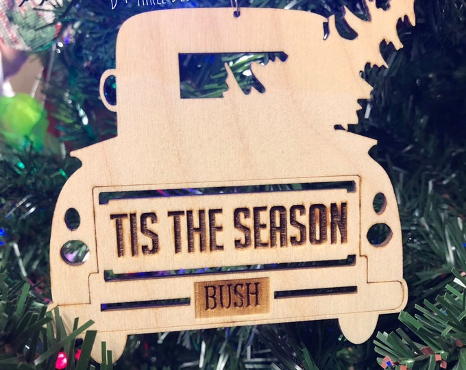 Wooden Christmas Personalized Truck Ornament