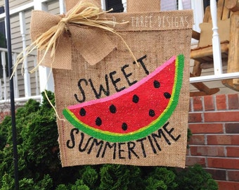 Sweet Summertime Watermelon Personalized Yard Flag // Welcome Decor // Garden Flag // Burlap Flag // Burlap Sign