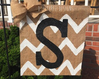Chevron Monogram Personalized Yard Flag // Welcome Decor // Garden Flag // Burlap Flag // Burlap Sign// You Pick The Colors