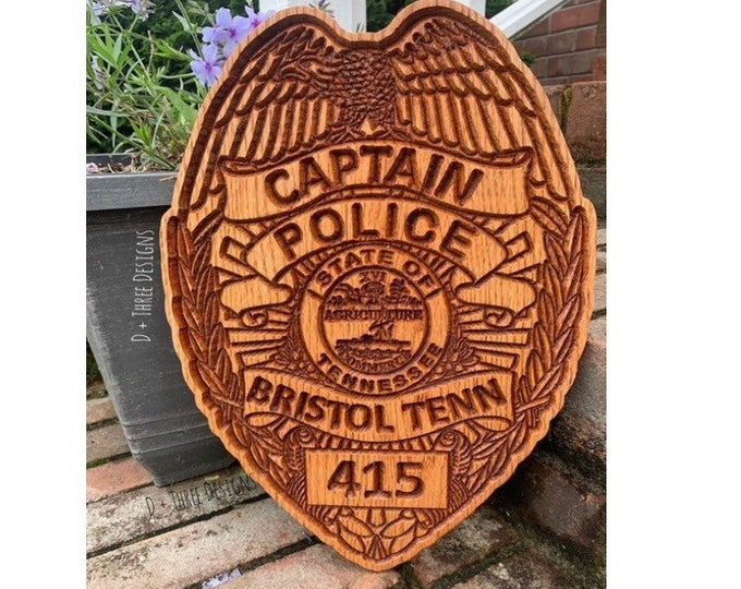 Captains Personalized Police Badge or Patch // Police Retirement // Police Gift