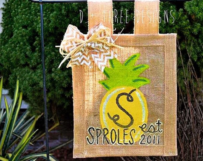 Sweet Summertime Pineapple Personalized Yard Flag // Welcome Decor // Garden Flag // Burlap Flag // Burlap Sign