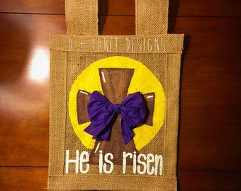 Easter He Is Risen Burlap Personalized Yard Flag // Easter Decor // Garden Flag // Burlap Flag