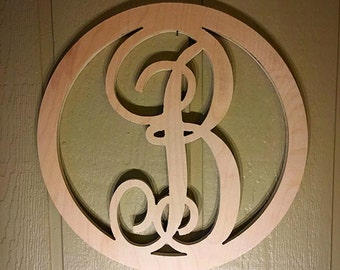 18 Inch Wooden Circle Monogram Letter, Wooden Monogram, Letters, Home Decor, Weddings, Nursery Letters, Ready to be painted!