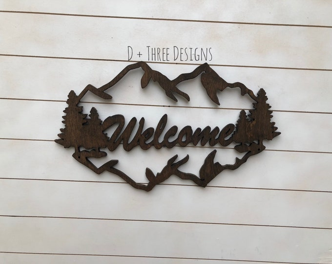 Wooden Mountain Welcome Sign //  Cabin Welcome Sign //  Cabin Decor // Rustic Welcome Sign