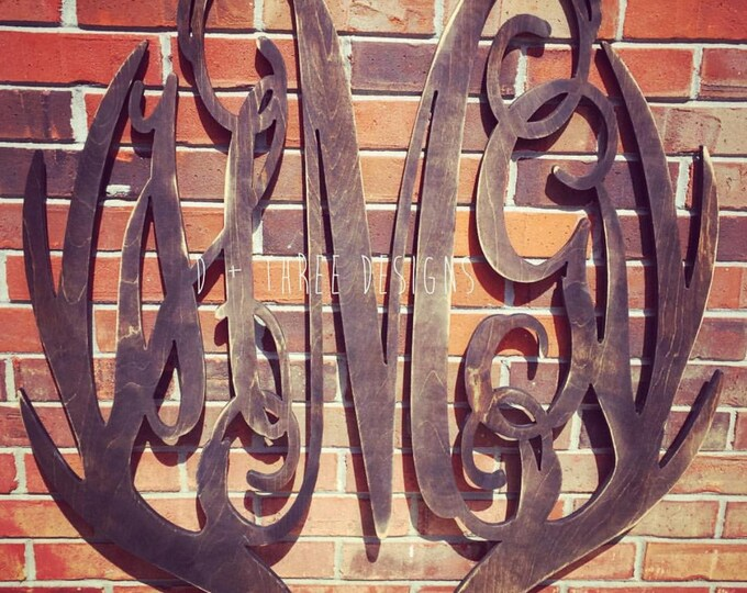 36 Inch Distressed Wooden Antler Monogram, Man Cave Decor, Rustic Wooden Letter, Hunter Decor - You Pick The Stain Color or Paint Color