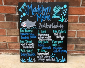 "HAND-PAINTED Baby Shark (You Pick Theme) Birthday Chalkboard Sign, Birthday Sign, Birthday Board, Wedding Sign, Photo Shoot Prop (16x20"")"