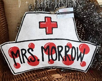Personalized Nurse Appreciation Hat (White & Red) Burlap Door Hanger