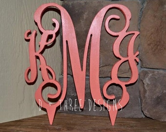 Monogram Cake Topper Painted (You Choose The Color) // Wedding Cake Topper // Birthday Cake Topper // Baby Shower Cake Topper