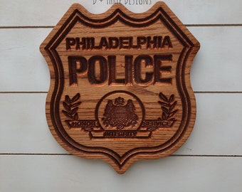 Philadelphia Police Personalized Police Badge or Patch // Police Retirement // Police Gift