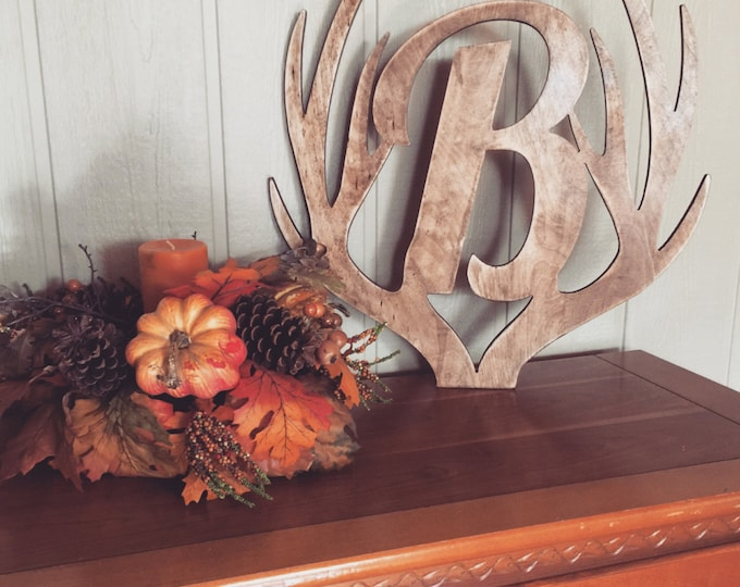 "22"" Distressed Wooden Antler Monogram, Rustic Monogram, Hunter Decor - You Pick The Stain Color or Paint Color"