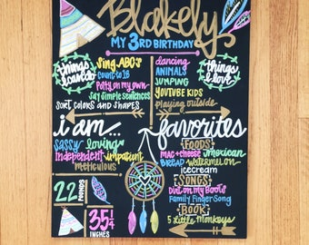"HAND-PAINTED (You Pick Theme) Birthday Chalkboard Sign, Birthday Sign, Birthday Board, Wedding Sign, Photo Shoot Prop (16x20"")"