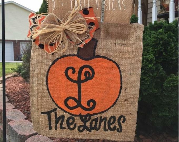 Monogram Pumpkin Burlap Flag // Fall Wreath // Autumn Monogram // Painted Monogram Fall Wreath // Yard Flag // Pumpkin Flag