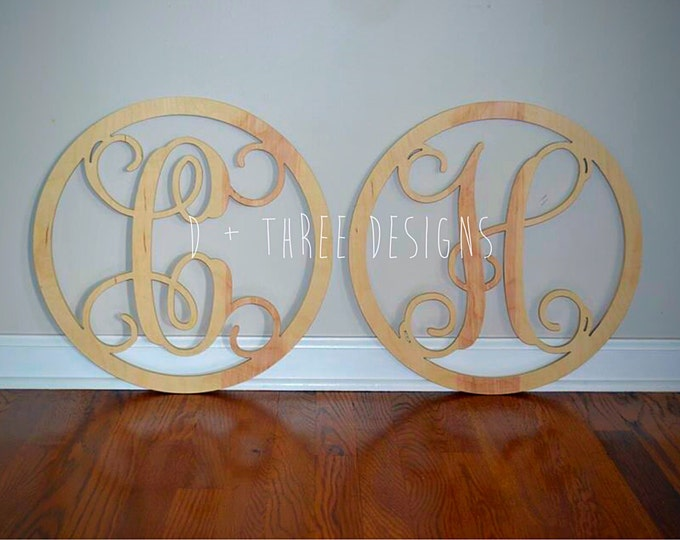 Two 20 Inch Wooden Circle Single Monogram Letters, Wooden Monogram, Letters, Home Decor, Weddings, Nursery Letters, Ready to be painted