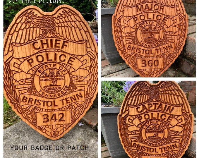 Personalized Police Badge or Patch // Police Retirement // Police Gift
