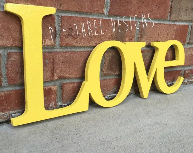 Wooden Love Decor (You Pick The Color), Wedding Sign, Shelf Decor, Wooden Letters, Wooden Shelf Sign, Home Decor,