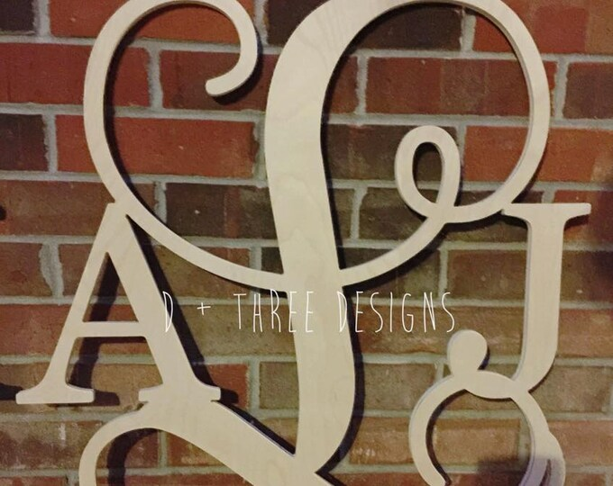 22 Inch Wooden Monogram, Letters, Home Decor, Weddings, Nursery Letters, Ready to be painted!