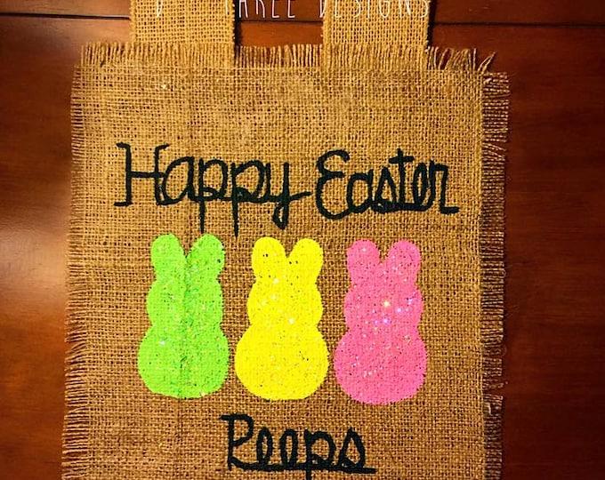 Easter Peeps Burlap Personalized Yard Flag // Easter Decor // Garden Flag // Burlap Flag