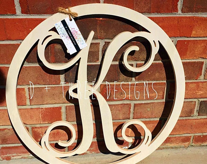 22 Inch Wooden Circle Monogram Letter, Wooden Monogram, Letters, Home Decor, Weddings, Nursery Letters, Ready to be painted!