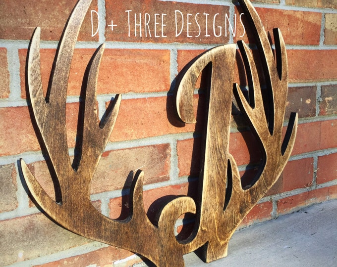 "20"" Distressed Wooden Antler Monogram, Rustic Monogram, Hunter Decor - You Pick The Stain Color or Paint Color"
