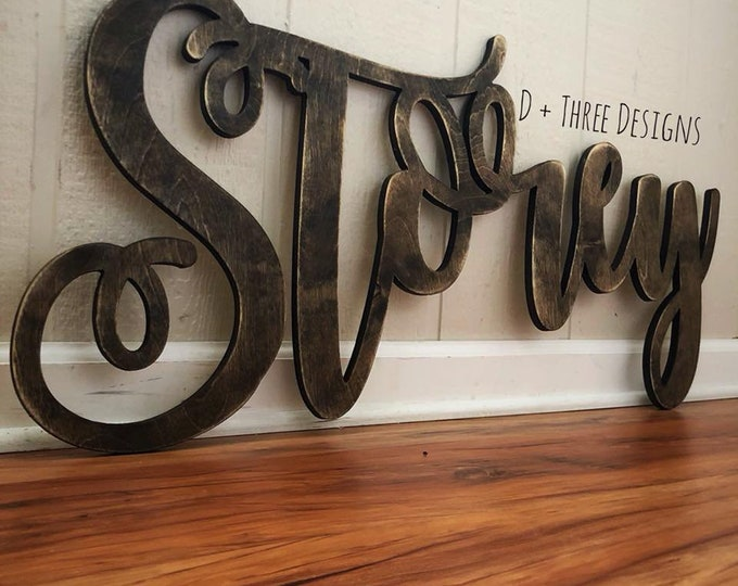 Large Distressed PERSONALIZED Name Connected Wood Wall Name / Nursery Decor / Wooden Initials / Name Plaque / Wedding Name / Name Decor