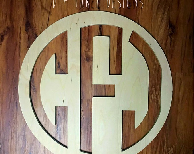 22 Inch Wooden Circle Monogram Reverse Cut Out, Wooden Letters, Monogram, Home Decor, Nursery Letters, & More