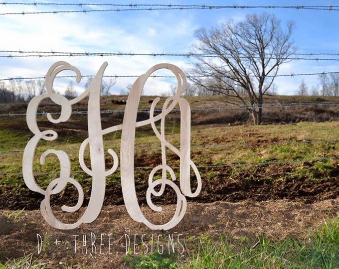 24 Inch Wooden Monogram, Letters, Home Decor, Weddings, Nursery Letters, Gift Initials